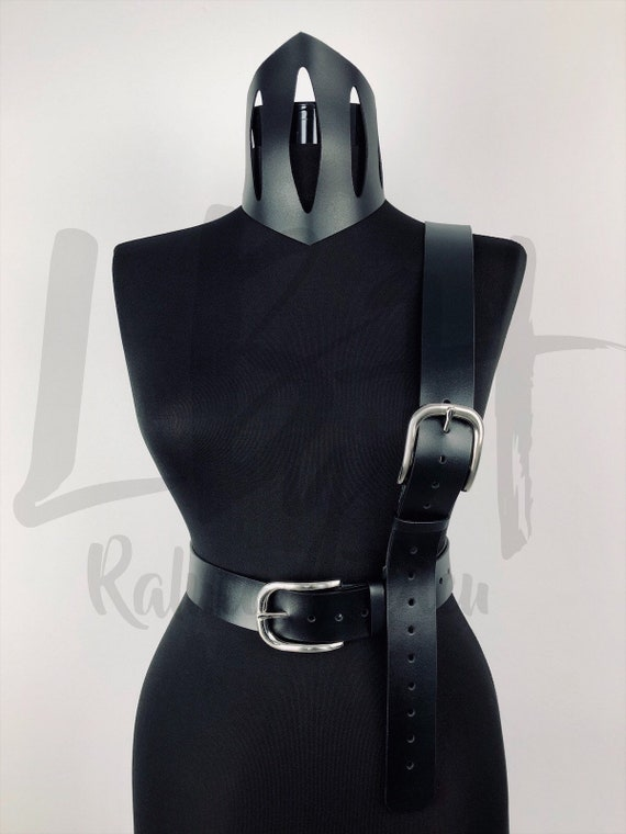 Dual Belt Waist and Overshoulder Black Leather Belt,Black Belt with Silver Buckles,Genuine Leather Belt with Two Buckles,Luxury Belt fo Her