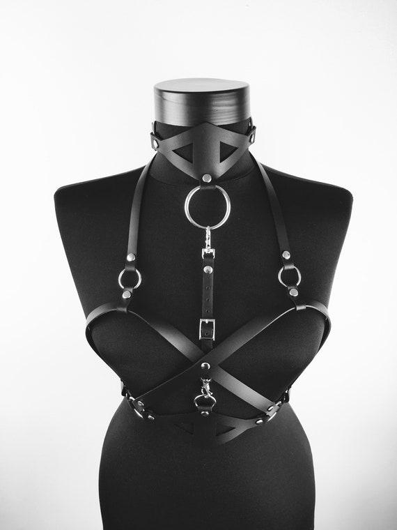 Leather body chest harness,Sexy harness leather women,Black harness chest,Harness belt her,Spicy leather body women,Harness body gift