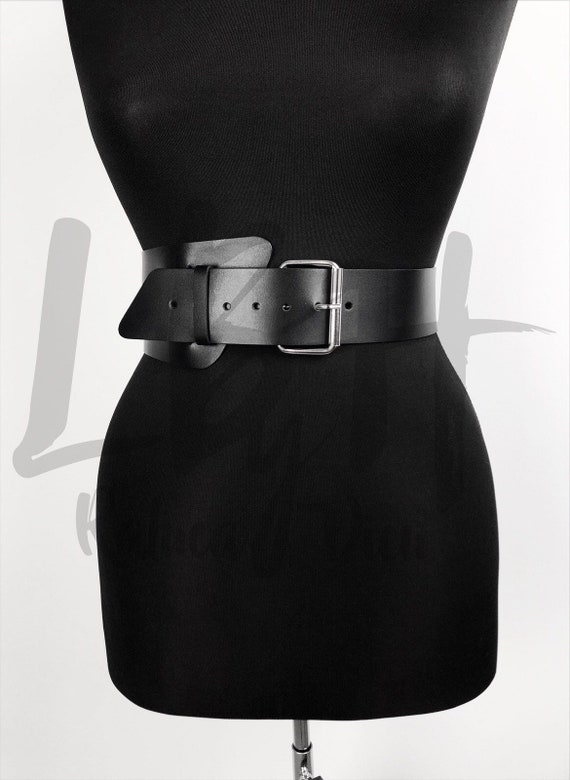 Leather Dual Layer Belt, Waist Asymmetric Black Belt,Corset Belt,BridalBelt,Wide Harness Belt,Custom Corset,Womens Belt,Custom Leather Belt