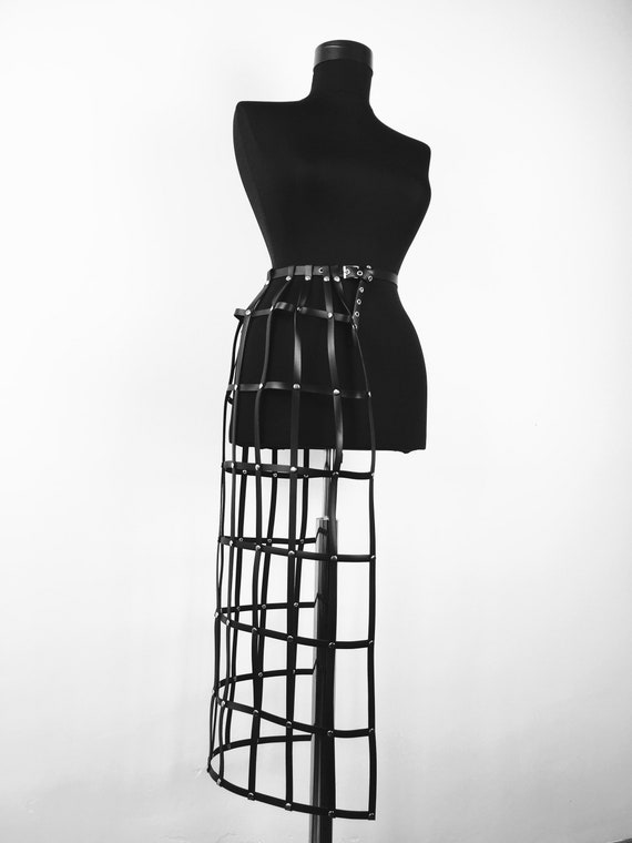 Leather body cage skirt,Lingerie leather,Body cage,Sexy harness dress, Designer leather harness skirt,Sexy leather skirt, Style harness gift