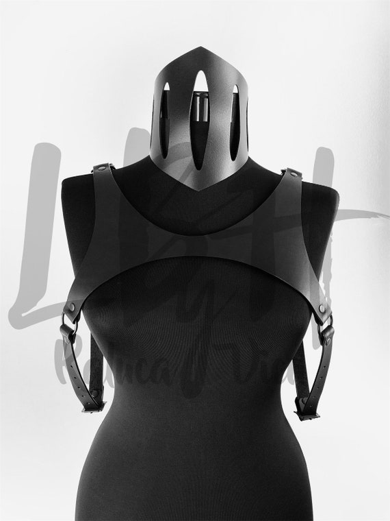 Modern chest leather harness top,Black leather harness,Black body cage gift,Sexy Top Harness,Body Harness women,Leather harness lingerie