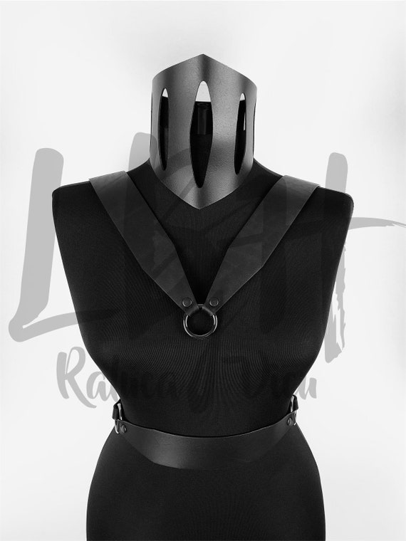 Black leather body harness,Harness body lingerie, Harness leather body,Hardcore look leather lingerie,Genuine black leather fashion outfit