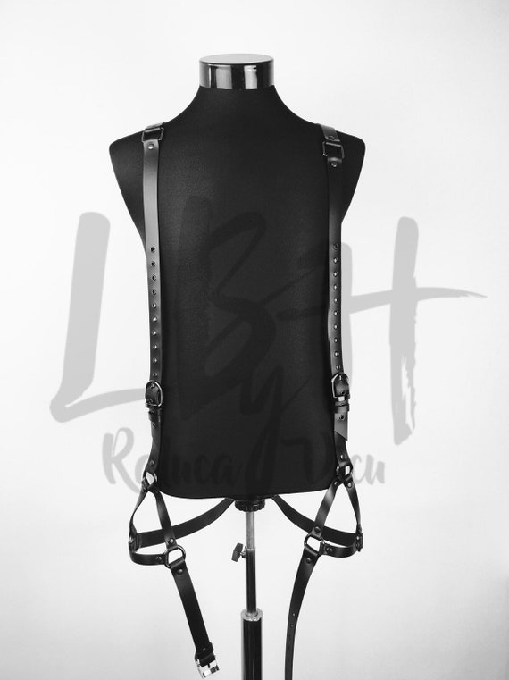 Black leather body harness for men,Harness body lingerie, Harness leather body,Hardcore look leather lingerie,Genuine black leather outfit