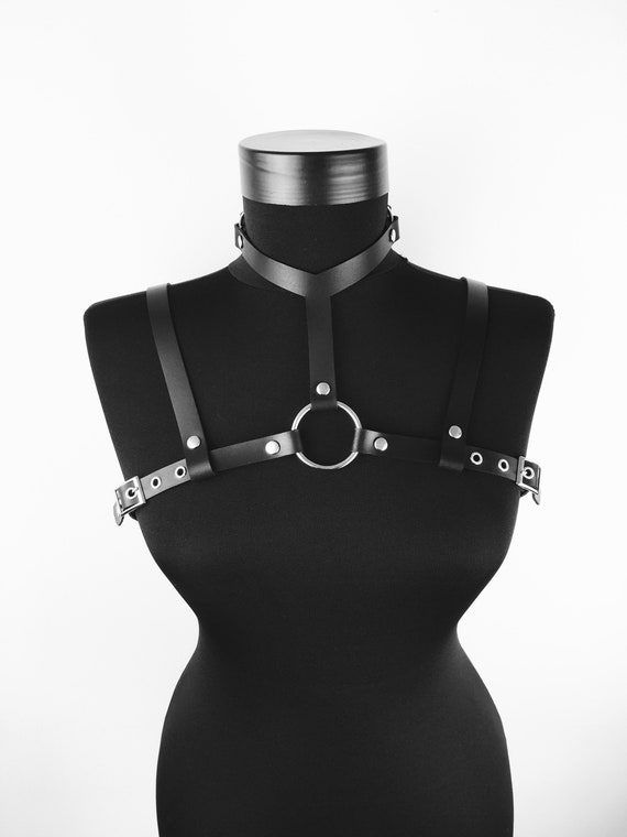 Leather harness women,BDSM look outfit, Harness belt leather, Harness with collar, Leather lingerie, Leather chest belt,  Sexy leather look
