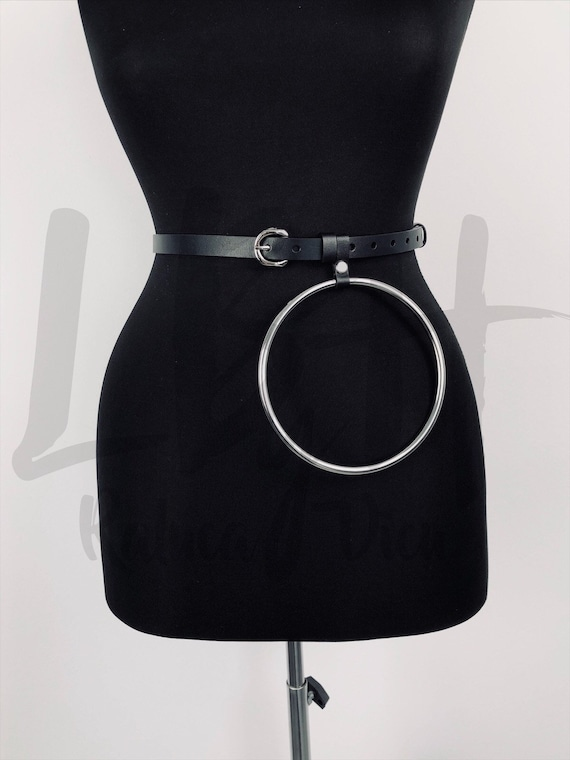 Thin Leather Belt with Oversized Ring,Black Leather Belt for Women, Black Dress Belt, Black Waist Belt, Black Leather SkinnyBelt, Thin belt