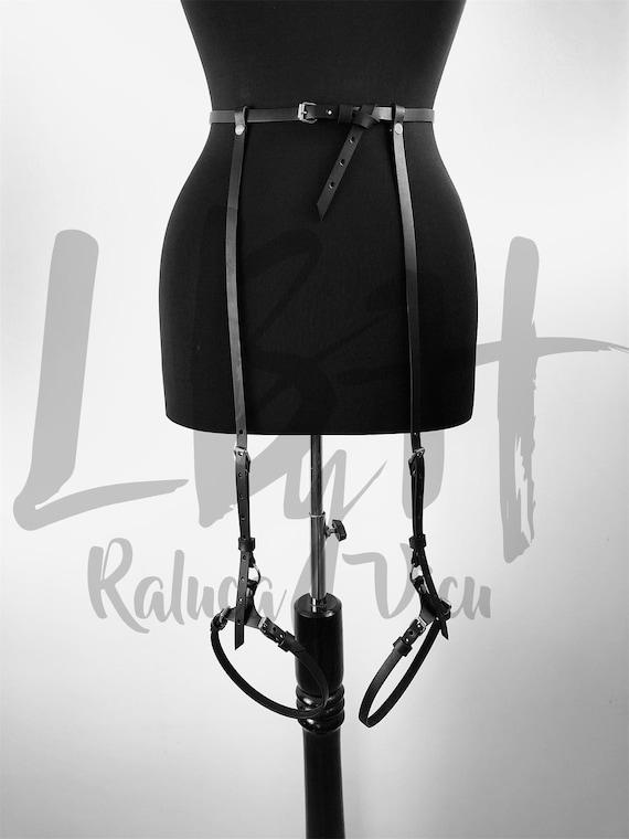 Garter Belt Women, Leather Waist Belt ,Stockings Garter belt lingerie ,Waist to thigh harness,Leg harness,Garters for stockings giftLbh