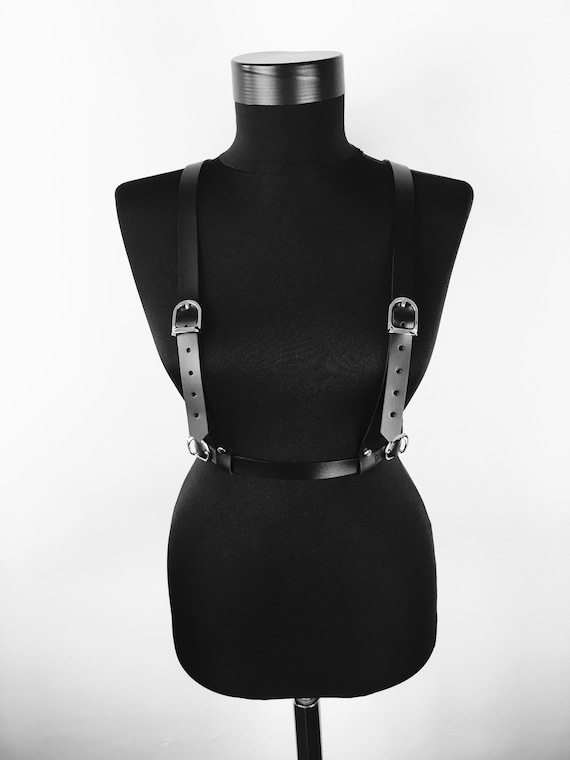 Leather Suspenders with Waist Belt,Leather Suspenders , Body Harness, Chest Harness , Black Leather, Leather Belt, Leather Accessory Gift