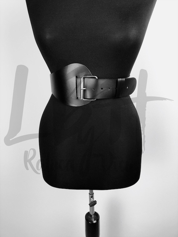 Round Asymmetric Black Belt,Corset Belt,BridalBelt,Wide Harness Belt,Custom Corset,Womens Belt,Custom Leather Belt