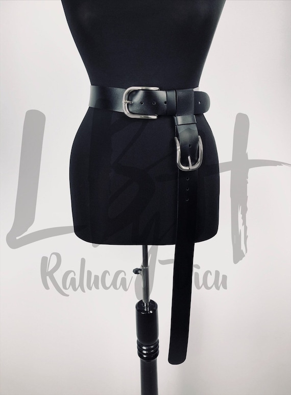 Leather Long Belt, Asymmetrical Waist Black Belt,Long Belt,Gift Harness Belt,Wide Harness Belt,Custom Corset,Womens Belt,Custom Waist Belt