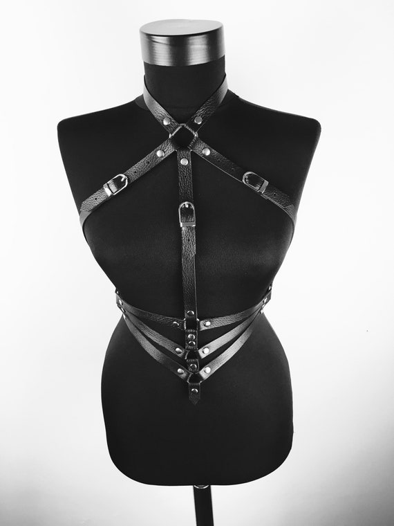 Women body harness,Harness lingerie body, Harness leather full body,Hardcore leather lingerie, Black choker harness, Hardcore fashion set