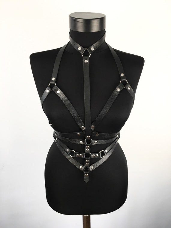 Fetish look bra harness,Leather body  waist straps,Hardcore look harness gift,Fetish leather top,Body harness top,Lingerie leather cage belt