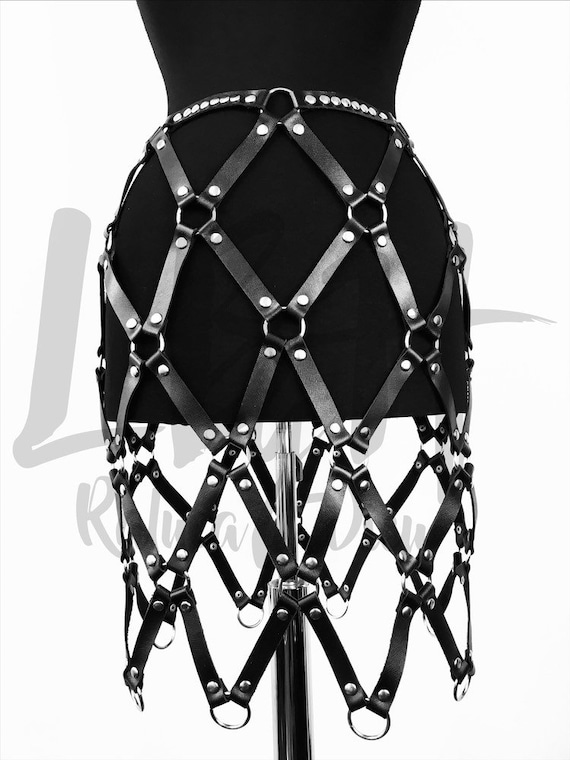 Sexy skirt harness leather,Leather harness ring, Leather harness her,Lingerie harness fetish, Black leather harness skirt, Designer leather