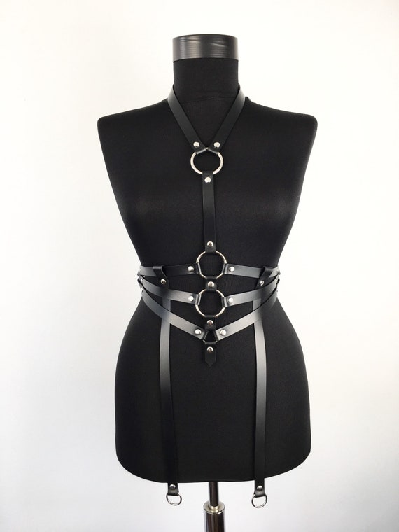 Body harness with collar,For her harness gift,Choker body cage,Leather belt harness strap,Fashion leather body belt,Sexy black leather bra