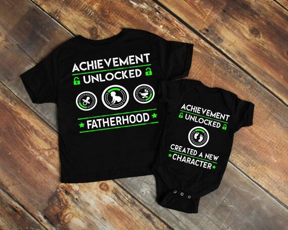 New Dad Gamer T Shirt Babysuit Combo Fatherhood Achievement Etsy