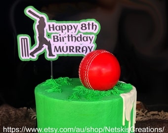 Cupcake Toppers Cricket personalised Rice paper Icing sheet.973