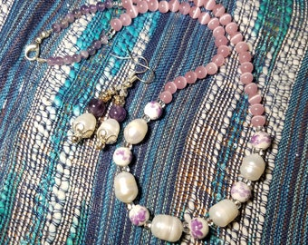 Handmade Freshwater Pearl Necklace with Earring 手造天然淡水珍珠頸鏈連耳環