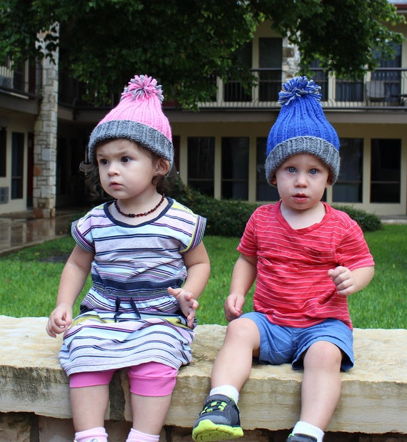 Knitted Toddler Hats Pink Or Blue Boy Girl Small Child