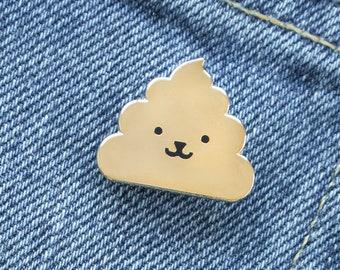Animal Poop Enamel Lapel Pin // gold / black / poop / poo / emoji / animal face / cloisonne pin