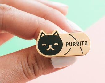 Purrito Cat Enamel Lapel Pin // black / gold / burrito / food / foodie gift / cat lover gift / black cat pin