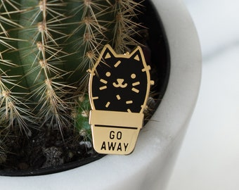 Cactus Cat Enamel Lapel Pin // black / gold / cactus / succulent / plant / go away / grumpy cat / cloisonne pin / black cat pin