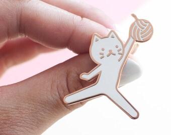 cc0ec3d95073 Jumpcat Enamel Lapel Pin    white   copper   basketball   jumpman   sports    yarn ball   cloisonne pin   silly gift   white cat pin