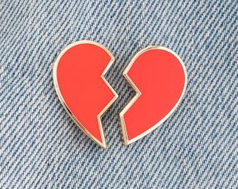 Broken Heart Enamel Pin Set // gold / broken heart emoji / red heart / best friends