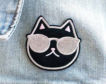 Cool Cat Patch // black / fabric patch / iron on / sew on / sunglasses cat / black cat patch