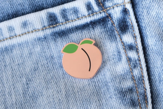 Peach Enamel Lapel Pin // Copper / Green / Peach Pin / Fruit / Fruits And Veggies / Food Pin / Cloisonne Pin by Etsy