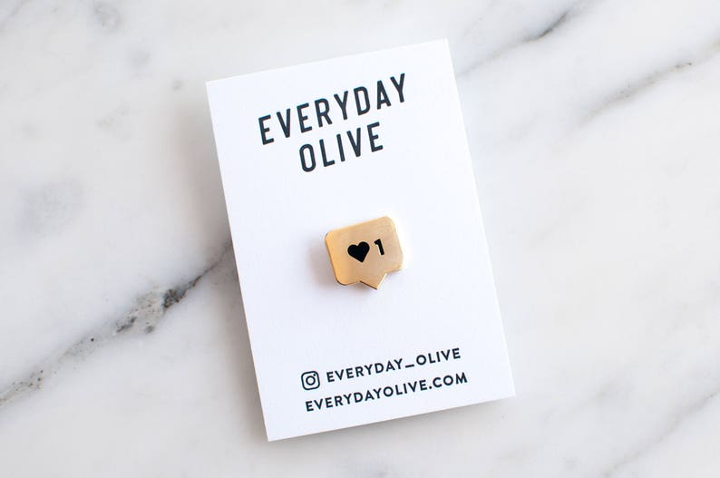 Instalike Enamel Lapel Pin // gold / black / Instagram / social media /  like / love / heart / Instagram pin