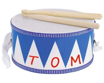 Personalised Tin Drum, musical instrument, children's musical instrument, child's drum, personalised children's gift,