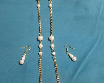 Handmade Pearl and Gold-tone Chain Necklace and Earring Set