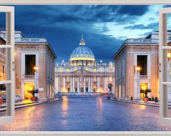 Rome Italy 3D Window Effect Wall Sticker Art Decal 493