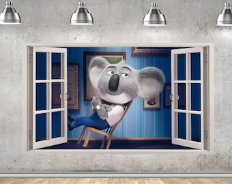 Sign Booster Moon Movie Character 3D Window View Wall Sticker Mural 863