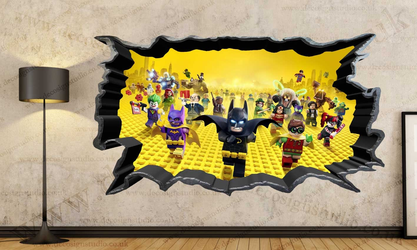 Superheroes Avengers The Lego 3D Cracked Wall Effect Wall | Etsy