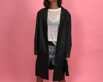 Leather trench blazer M/L