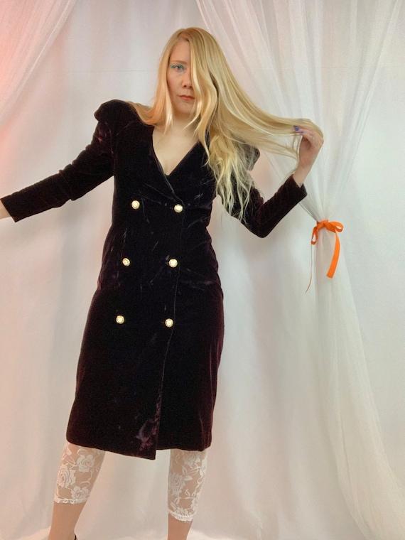Velvet mutton sleeve blazer dress