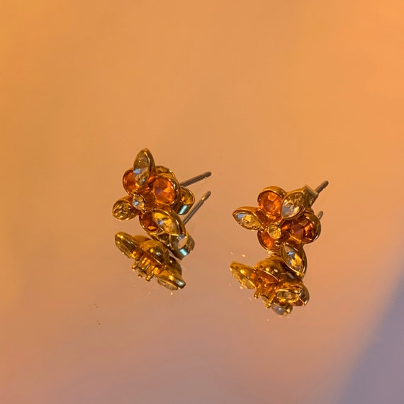 80's pink rhinestone luxe earrings
