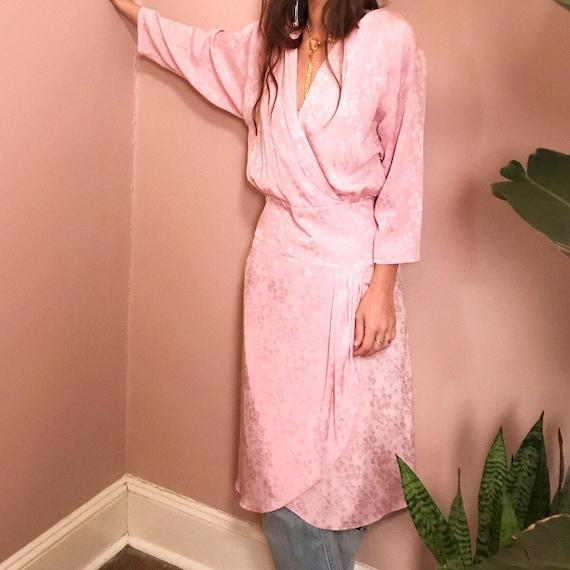 Surplice pale pink satin jacquard dress S
