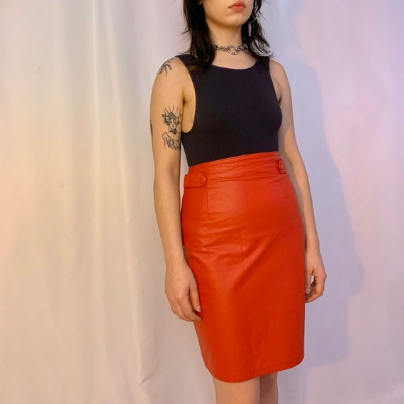 Red leather high waisted tab skirt - image 6