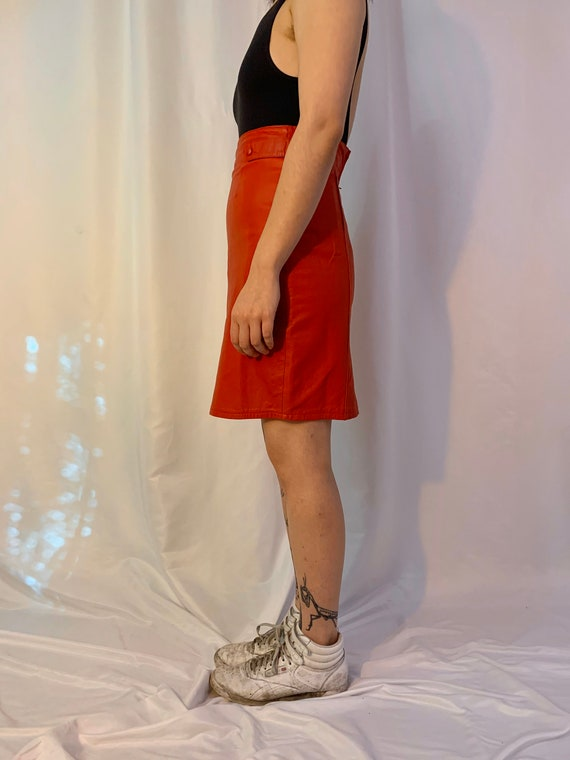 Red leather high waisted tab skirt - image 3
