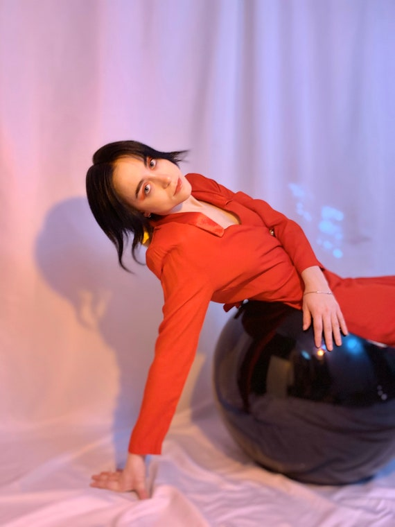 Red luxe blazer dress