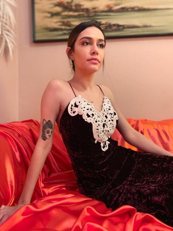 Jessica McClintock velvet & pearl dress