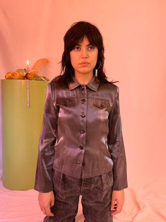 Shiny liquid shirt jacket - image 7