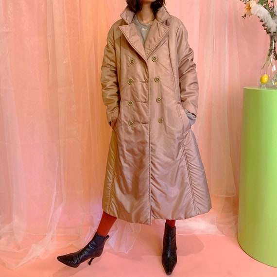 Shiny quilted puffer trench coat