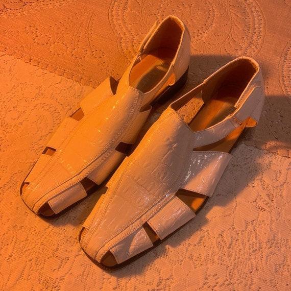 White patent croc cutout shoes