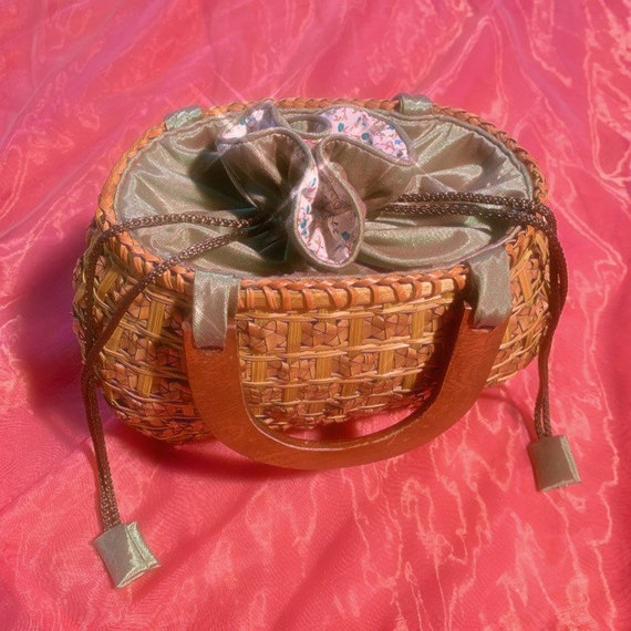 Lime green basket bag iridescent pouch
