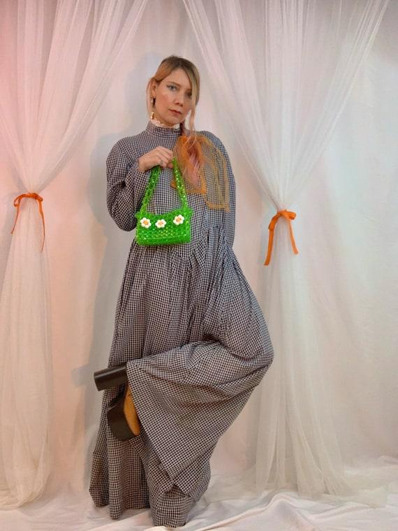 80's gingham puff sleeve yoke dress