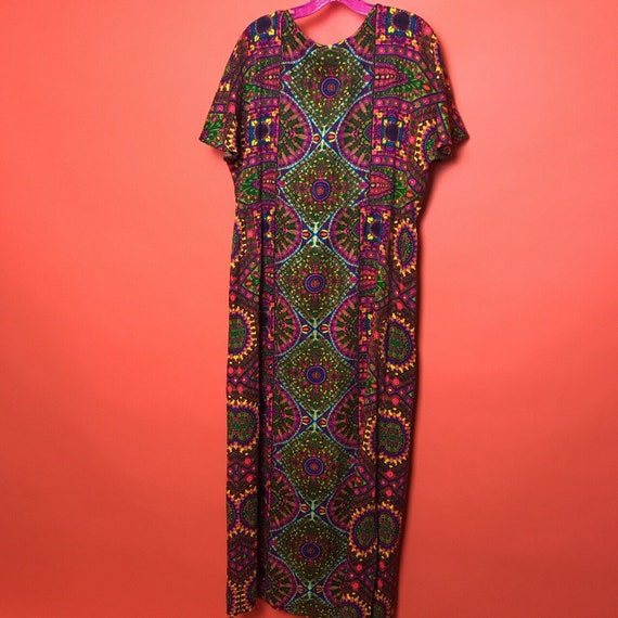 70s kaleidoscope flutter sleeve maxi dress M