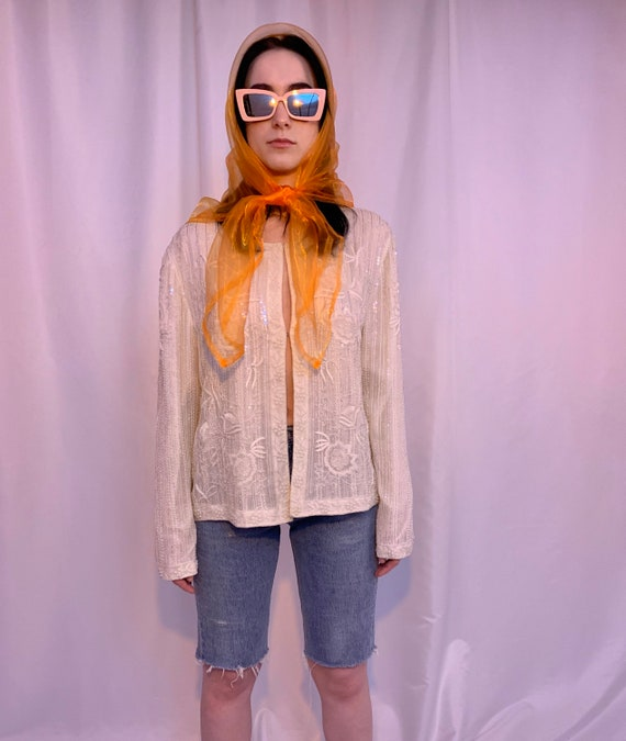 Silk beaded & sequin jacket - image 6