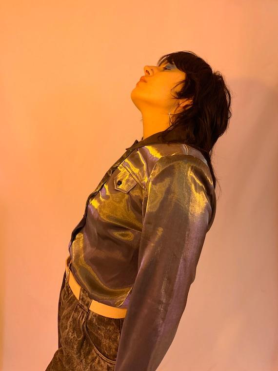 Shiny liquid shirt jacket - image 5